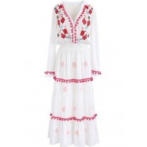 Chic Wish Stay Romance Embroidered Maxi Dress